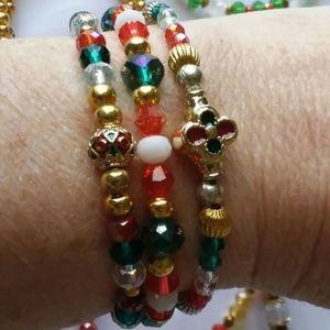 Christmas Bracelet Lot of 3 Holiday Festive